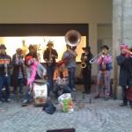 Rouen, Brassband playing Lady Gaga